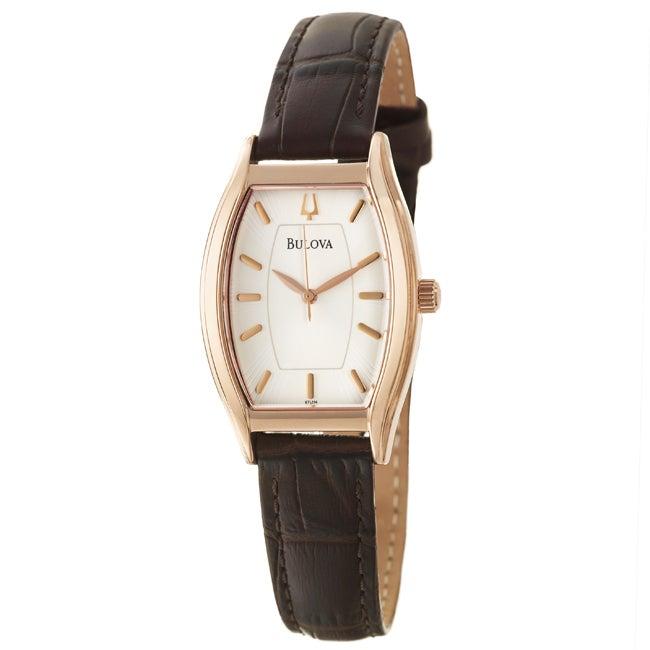 Bulova Women's Strap Silver Dial Leather Watch