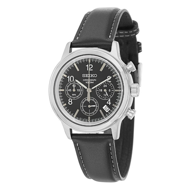 Seiko Men's Chronograph Black Dial Leather Military Time Watch