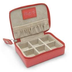 Morelle and Co. 'Vicky' Coral Leather Zippered Jewelry Case