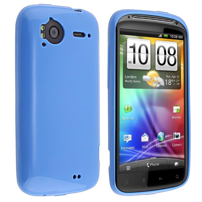 Blue Jelly TPU Rubber Skin Case for HTC Sensation 4G