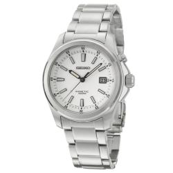 Seiko Men&#39;s Kinetic White Dial Stainless Steel Watch