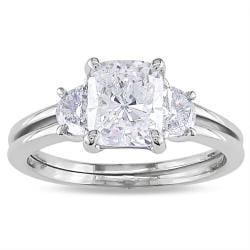 Miadora 14k White Gold 2 1/10ct TDW Cushion-cut Diamond 3-stone Ring (F-G, I1-I2)