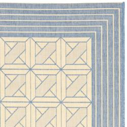 Poolside Natural/ Blue Indoor Outdoor Rug (5'3 x 7'7)