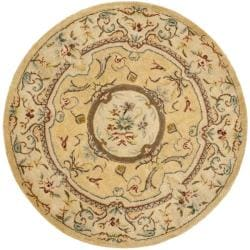 Handmade French Aubusson Light Gold/ Beige Wool Rug (4' Round)