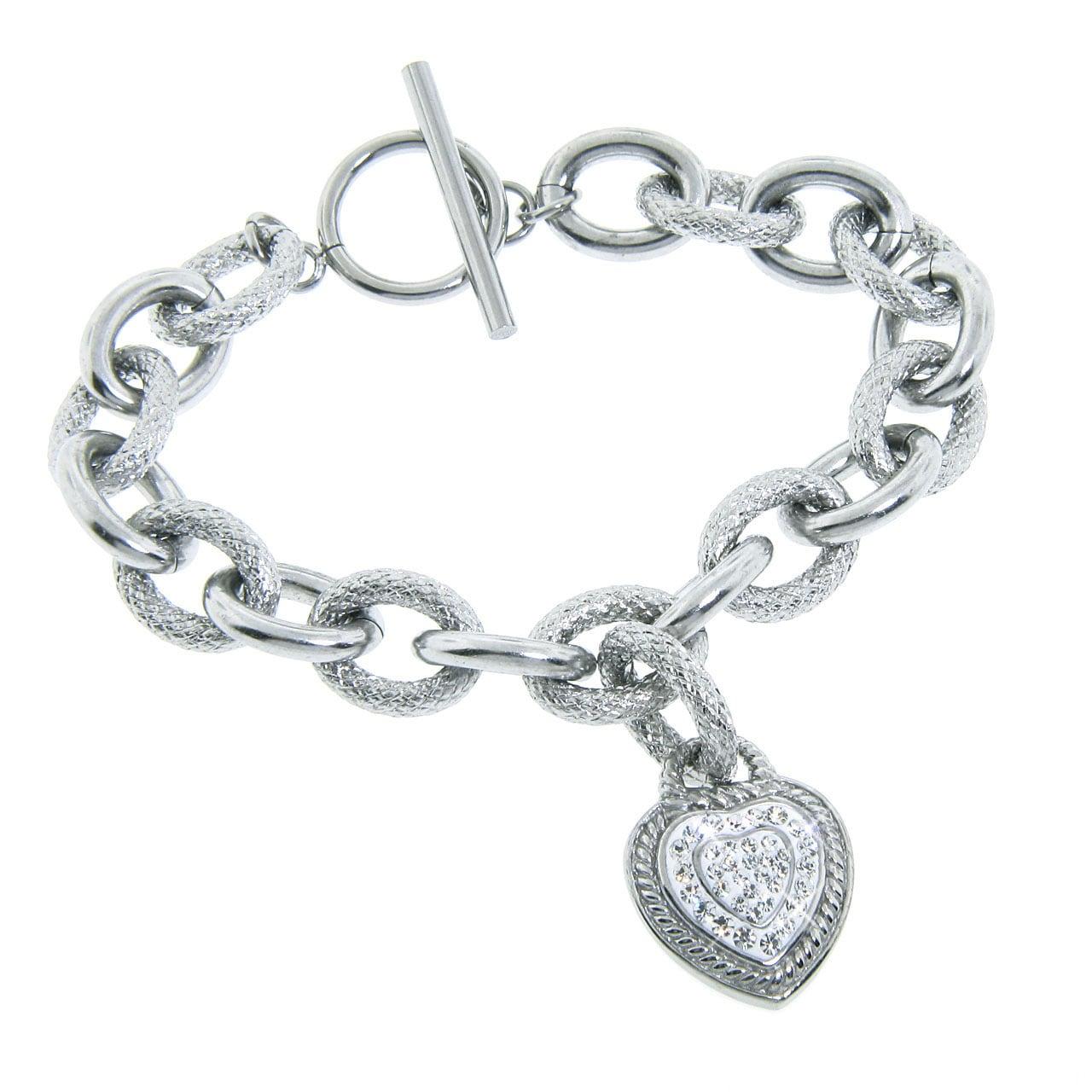 Eternally Haute Stainless Steel White Czech Crystal Heart Bracelet