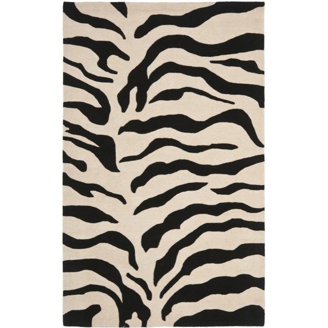 Safavieh Handmade Soho Zebra Beige/ Black New Zealand Wool Rug (7'6 x 9'6)