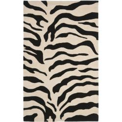 Handmade Soho Zebra Beige/ Black New Zealand Wool Rug (5'x 8')