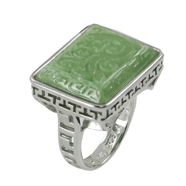 sterling silver carved jade cocktail ring