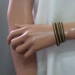 'Golden Shine' Brass Beads Leather Wrap Bracelet (Thailand)