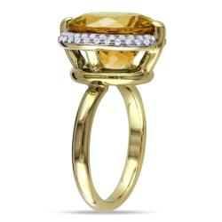 Miadora 14k Yellow Gold Citrine and 1/4ct TDW Diamond Ring (G-H, SI1-SI2)
