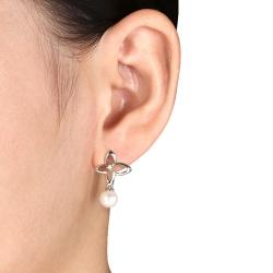Miadora Sterling Silver FW Pearl and Diamond Accent Earrings (6.5-7 mm)