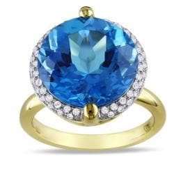 Miadora 14k Yellow Gold Blue Topaz and 1/4ct TDW Diamond Ring (G-H, SI1-2)