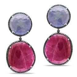Miadora 14k White Gold Sapphire and 2 1/2ct TDW Black Diamond Earrings