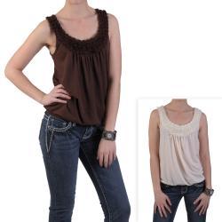 Journee Collection Women's Sleeveless Scoop Neck Rosette Bib Top