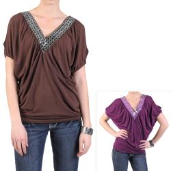 Journee Collection Women's Banded Peek-A-Boo Shoulder Tunic