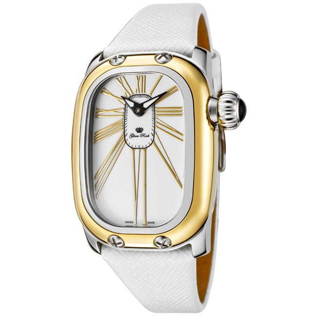 Glam Rock Women's 'Monogram' White Genuine Saffiano Leather Watch
