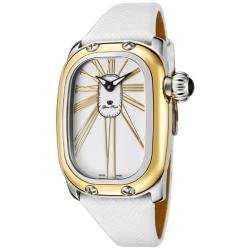 Glam Rock Women's 'Monogram' White Genuine Saffiano Leather Watch