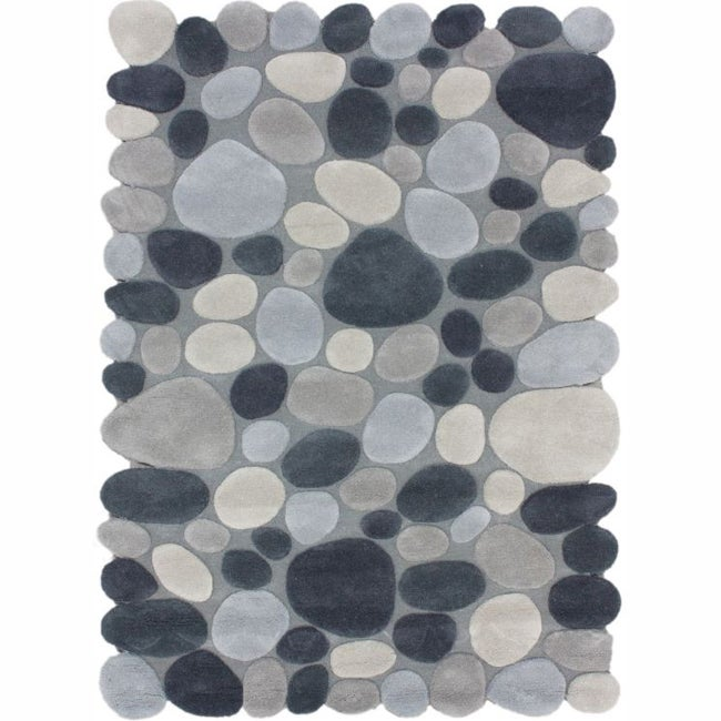nuLOOM Handmade Mona Pebbles Grey Wool Rug (6' x 9')