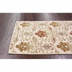 nuLOOM Handmade Mona Arts and Crafts Ivory Wool Rug (6' x 9')