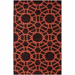 nuLOOM Handmade Art Deco Trellis Brown Wool Rug (7'6 x 9'6)