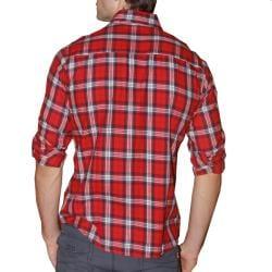 191 Unlimited Men's Red Plaid Cotton Flannel Shirt