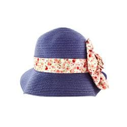 Faddism Women's Dark Blue Straw Rosette Sun Hat