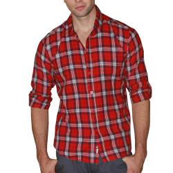 191 Unlimited Men's Red Plaid Cotton Flannel Shirt