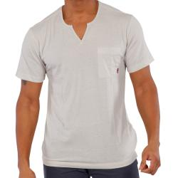 191 Unlimited Men's Beige Moroccan Collar T-shirt