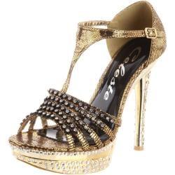 Celeste Women's 'Natalie-01' Rhinestone T-strap Sandals
