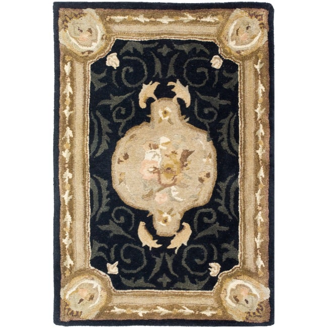 Safavieh Handmade French Aubusson Black Premium Wool Rug (2' x 3')