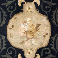 Handmade French Aubusson Black Premium Wool Rug (2' x 3')
