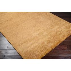 Handcrafted Abstract Casual Brown Noble Wool Rug (5' x 8')