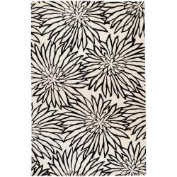 Hand-tufted White Habala New Zealand Wool Rug (3'3 x 5'3)
