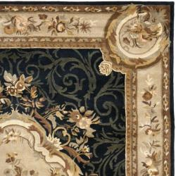 Handmade French Aubusson Black Premium Wool Rug (6' x 9')