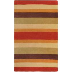 Hand-crafted Multi Colored Stripe Bory Wool Rug (3'3 x 5'3)
