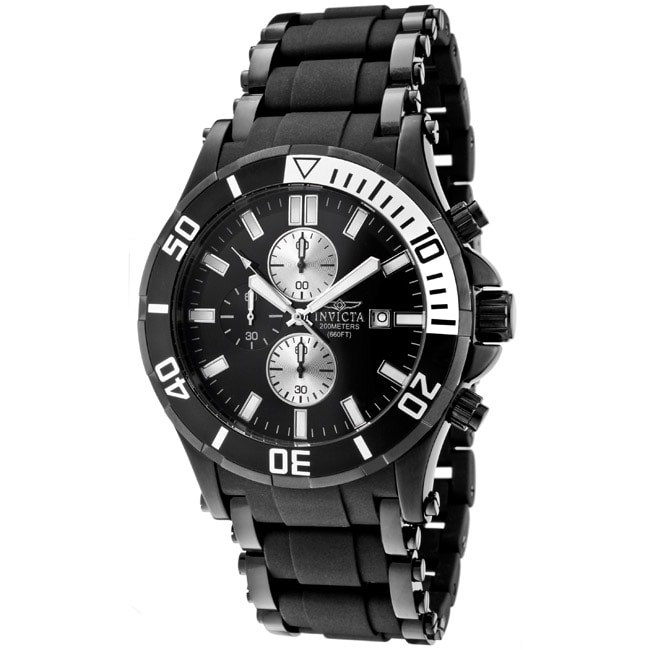 Invicta Men's 'Sea Spider' Black Rubber/ Black Ion-plated SS Watch