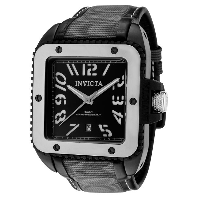 Invicta Men's 'Cuadro' Black Leather/ Grey Nylon Watch