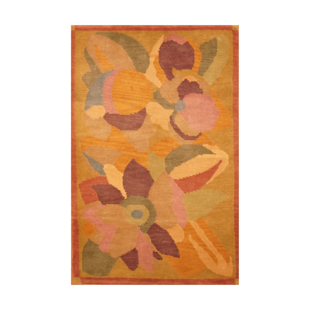 Indo Hand-knotted Tibetan Salmon/ Light Green Wool Rug (3'7 x 5'6)