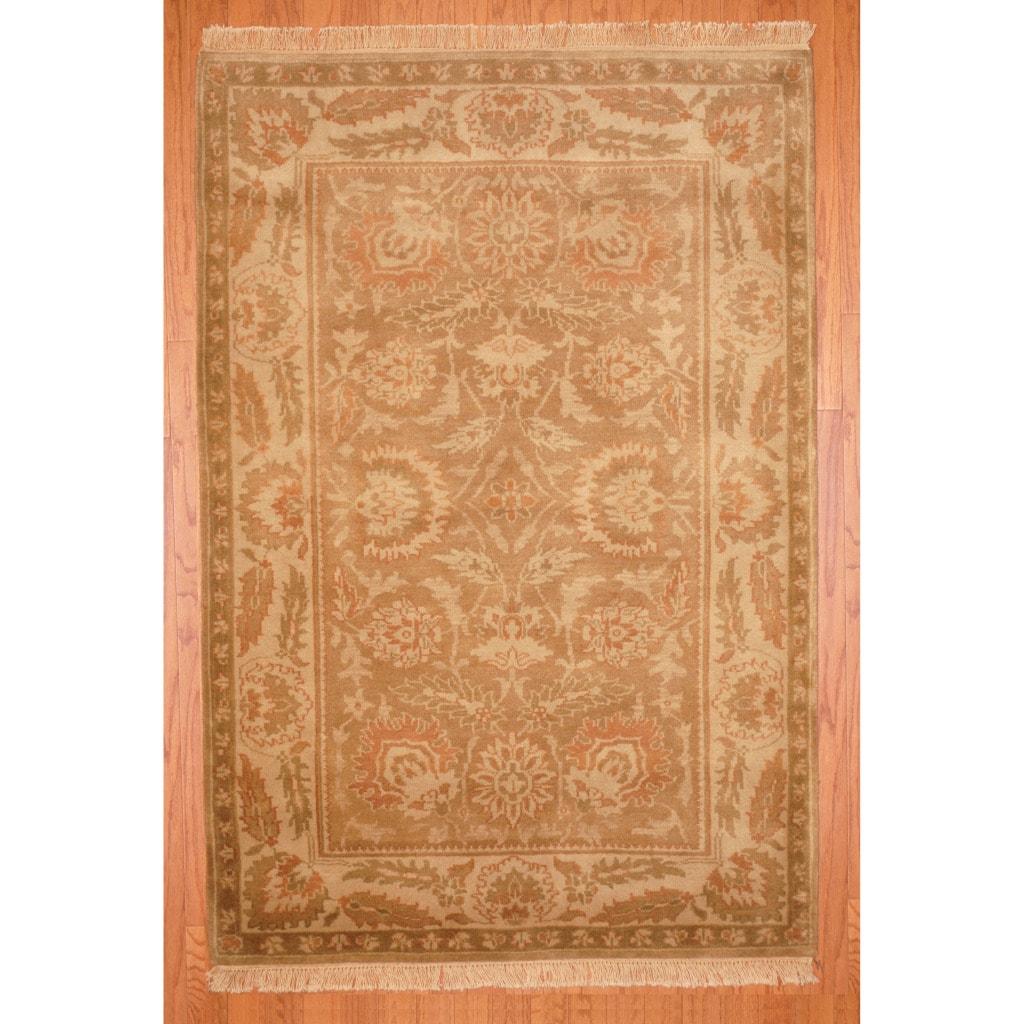 Indo Hand-knotted Tibetan Beige/ Rust Wool Rug (4' x 6')