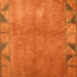 Indo Hand-knotted Tibetan Brown/ Beige Wool Rug (4'1 x 5'8)