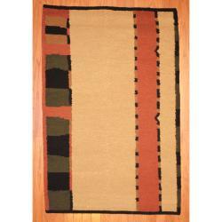 Indo Hand-knotted Tibetan Beige/ Salmon Wool Rug (3'7 x 5'6)