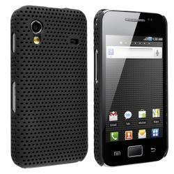 Black Meshed Rear Snap-on Rubber Case for Samsung Galaxy Ace S5830