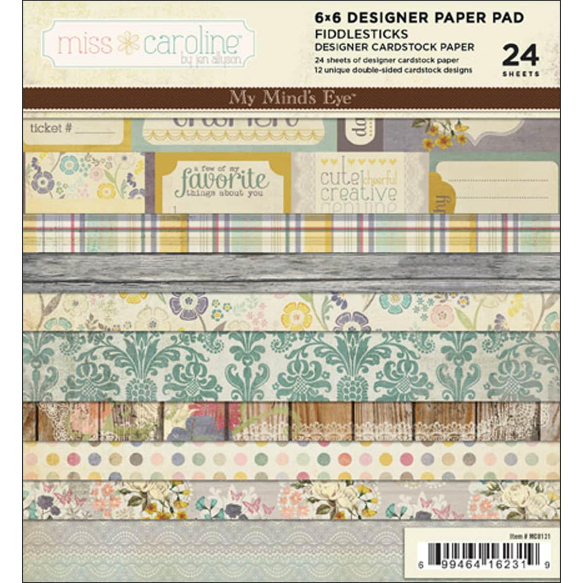 Miss Caroline Fiddlesticks 6x6-inch Paper Pad (24 Sheets)