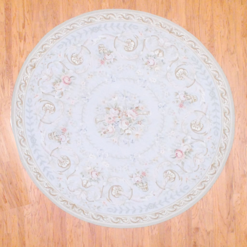 Sino Hand-knotted Aubussan Ivory/ Beige Wool Rug (8' Round)