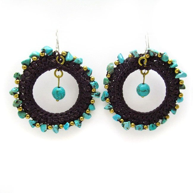 Magic Moon Blue Turquoise Stone Cotton Roop Hoop Earrings (Thailand)