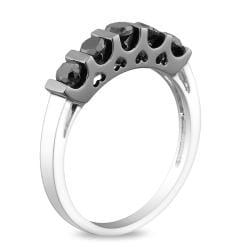 Miadora Sterling Silver 1ct TDW Black Diamond  Ring