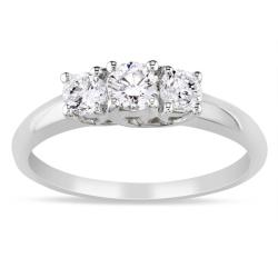 Miadora 14k White Gold 1/2ct TDW Diamond 3-stone Ring (G-H, SI1-SI2)