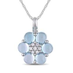 Miadora 10k White Gold Blue Topaz and 1/10ct TDW Diamond Necklace (H-I, I2-I3)