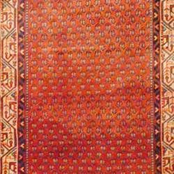 Persian Hand-knotted Hamadan Rust/ Ivory Wool Rug (3'10 x 7'7)