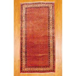 Persian Hand-knotted Hamadan Rust/ Ivory Wool Rug (3&#39;10 x 7&#39;7)